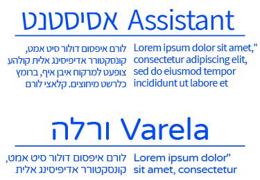 פונטים בעברית ובאנגלית - אסיסטנט-ורלה